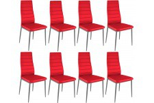 Chaise Design Lot de 8 chaises rouges en métal San José, deco design