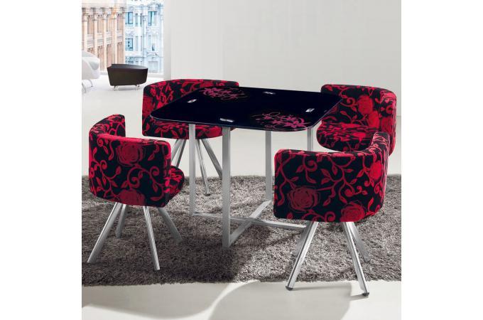 table et chaises mosaic 90 fleurs rouge et noir table manger pas cher. Black Bedroom Furniture Sets. Home Design Ideas