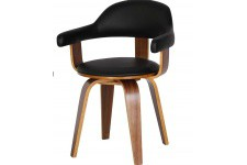 Chaise noire en simili cuir Sweden, deco design