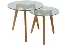 Table d'Appoint Lot de 2 tables marrons en verre Collin, deco design