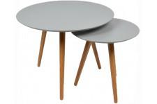 Table d'Appoint Lot de 2 tables grises bois Woodstock, deco design