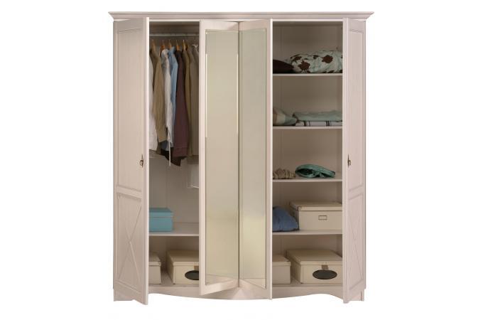 Armoire 4 portes pin memphis serena meuble de rangement - Systeme rangement cremaillere ...