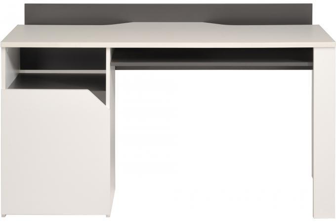 Bureau avec multiples rangement blanc et gris bureau pas for Bureau blanc et gris