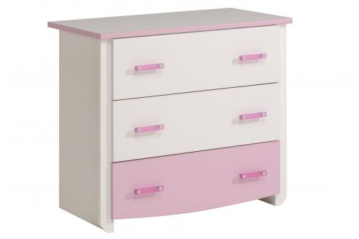 Commode 3 Tiroirs Beauty Megeve Blanc Et Rose