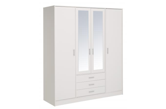 dressing 4 portes blanc meuble de rangement pas cher. Black Bedroom Furniture Sets. Home Design Ideas