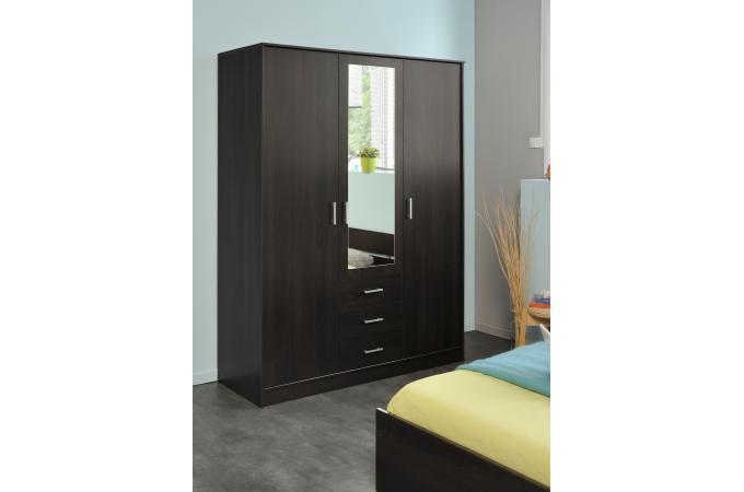 dressing avec 3 portes de penderies et 3 tiroirs caf meuble de rangement pas cher. Black Bedroom Furniture Sets. Home Design Ideas