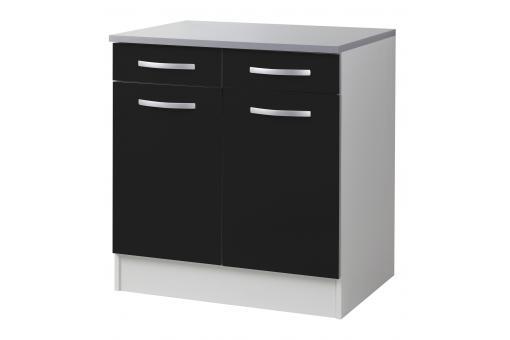 element bas de cuisine double portes noir meuble de rangement pas cher. Black Bedroom Furniture Sets. Home Design Ideas