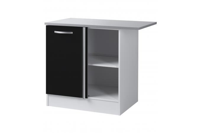 Element bas de cuisine d 39 angle noir meuble de rangement - Element d angle cuisine ...