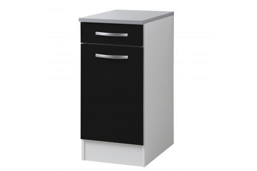 element 2 tiroirs bas de cuisine noir meuble de. Black Bedroom Furniture Sets. Home Design Ideas