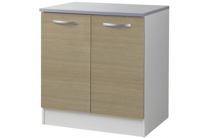 element bas sous vier de cuisine 2 portes ch ne 80 x 86 cm meuble de rangement pas cher. Black Bedroom Furniture Sets. Home Design Ideas