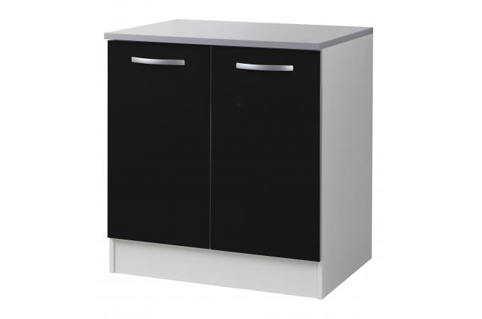 Element bas de cuisine sous vier 2 portes noir meuble for Element de cuisine noir