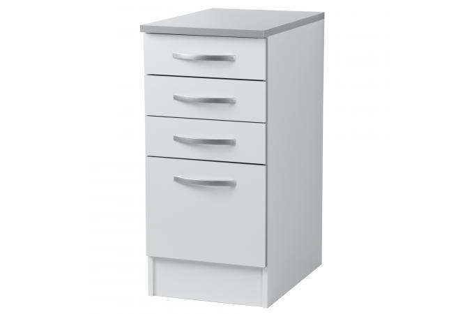Element de bas de cuisine 3 tiroirs blanc meuble de for Element de cuisine blanc