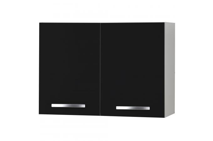 Element haut de cuisine double portes noir meuble de for Element de cuisine haut