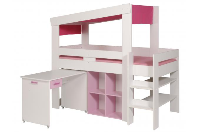 ensemble lit mezzanine bureau et rangement beauty blanc. Black Bedroom Furniture Sets. Home Design Ideas