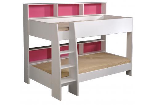 lits superpos s bois blanc et rose leonel lit enfant pas cher. Black Bedroom Furniture Sets. Home Design Ideas