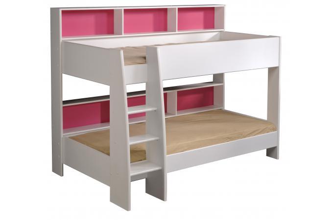lits superpos s bois blanc et rose leonel lit enfant pas. Black Bedroom Furniture Sets. Home Design Ideas