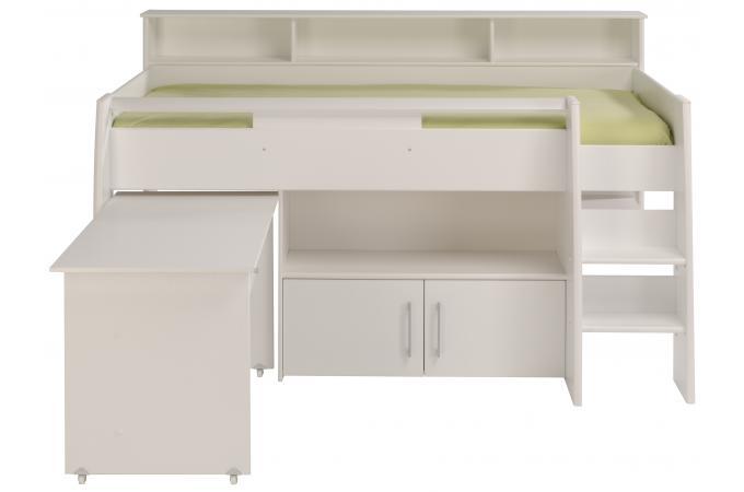 Lit mezzanine avec bureau et petite armoire 2 portes sheen for Lit enfant mezzanine avec bureau