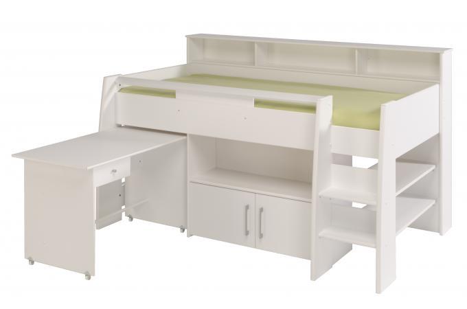 Lit mezzanine avec bureau et petite armoire 2 portes sheen - Lit mezzanine avec armoire et bureau ...