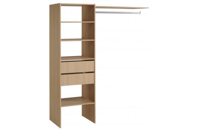 penderie avec tag re et 2 tiroirs de rangement couleur bois meuble de rangement pas cher. Black Bedroom Furniture Sets. Home Design Ideas