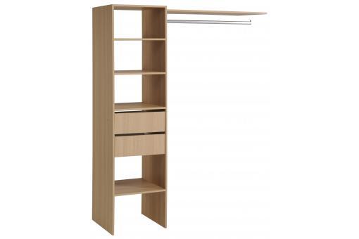penderie dressing avec tag re et 2 tiroirs de rangement couleur bois meuble de rangement pas cher. Black Bedroom Furniture Sets. Home Design Ideas