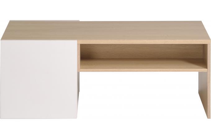 Table basse en bois coulissante blanche et bois naturel for Table basse coulissante
