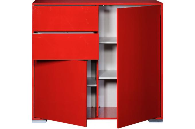 bahut haut 2 portes ouvrantes 2 tiroirs n 39 rouge vune console pas cher. Black Bedroom Furniture Sets. Home Design Ideas