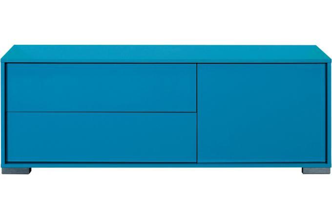 Banc tv hifi 1 porte ouvrante 2 tiroirs n 6 bleu turquoise for Banc tv hifi