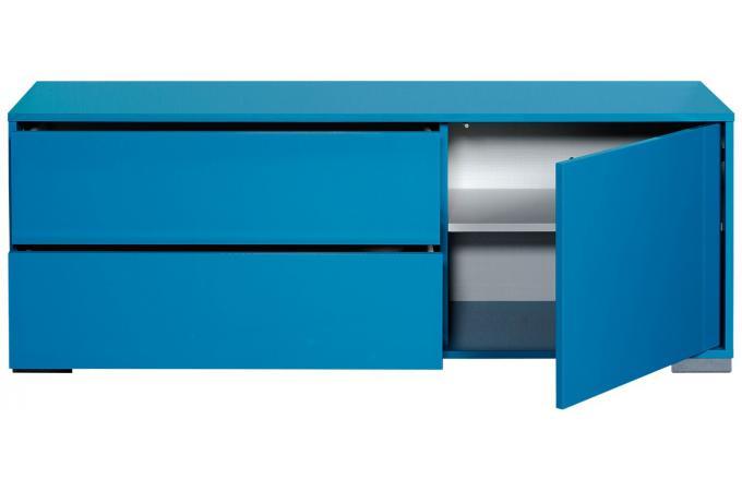 banc tv hifi 1 porte ouvrante 2 tiroirs n 6 bleu turquoise vune meuble tv pas cher. Black Bedroom Furniture Sets. Home Design Ideas