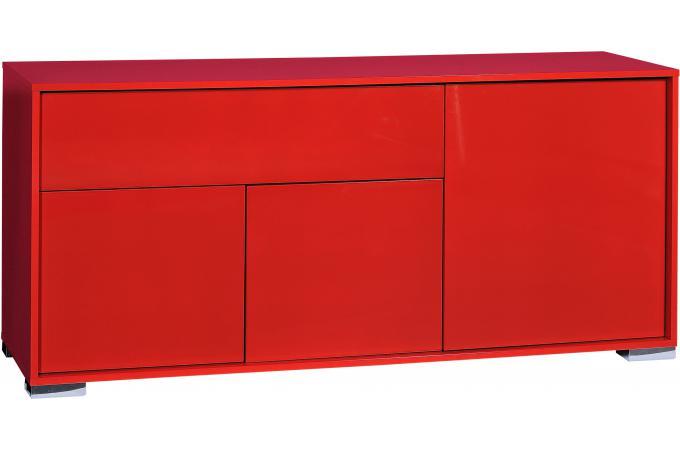 Banc tv hifi 1 porte ouvrante 2 tiroirs n 6 rouge vune for Banc tv hifi