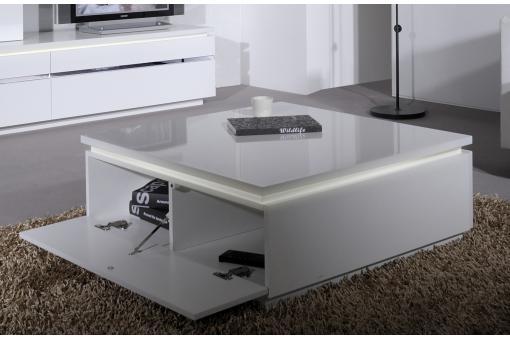 Table basse blanche carr e avec rangement et eclairage led for Table basse carree avec rangement