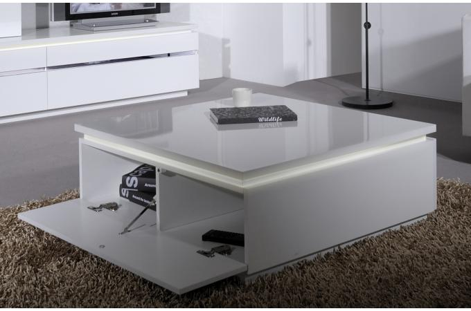 table basse blanche carr e avec rangement et eclairage led int gr electrik table basse pas cher. Black Bedroom Furniture Sets. Home Design Ideas