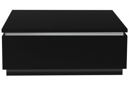 Table basse noire carr e avec rangement eclairage led for Table basse carree avec rangement
