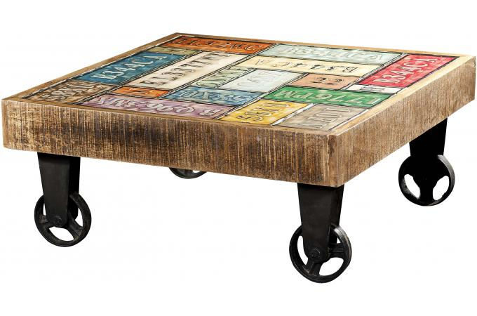 Table Basse Carree Pas Cher.Table Basse Carre A Roulettes Multicolore Whelly Plus D Infos
