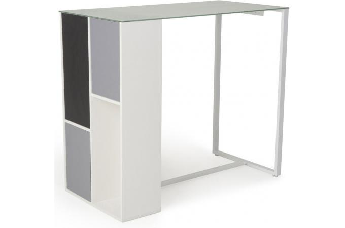 Table de bar en imitation bois blanche shisho table de for Table bar blanche