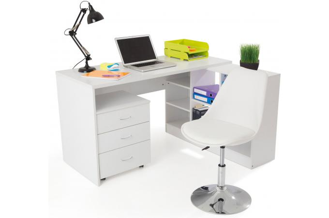 Bureau en imitation bois blanc avec retour flash bureau pas cher