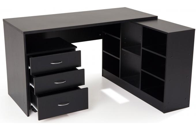 bureau en imitation bois noir avec retour flash bureau. Black Bedroom Furniture Sets. Home Design Ideas