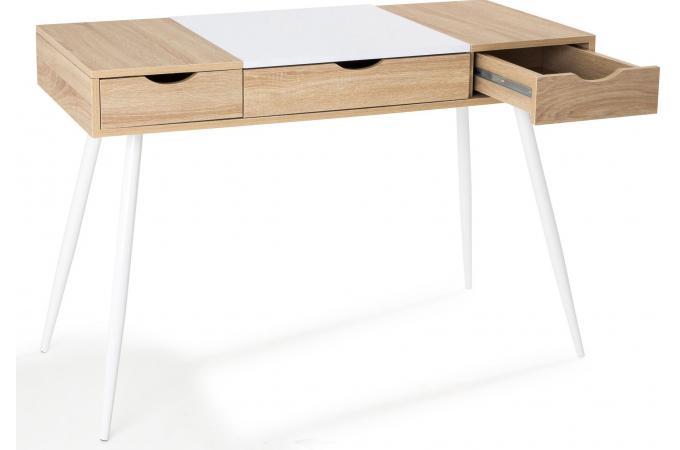 Bureau scandinave bois et blanc learn bureau pas cher