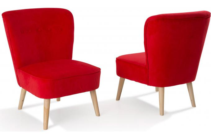 lot de 2 fauteuils en pin rouges looking fauteuil design pas cher. Black Bedroom Furniture Sets. Home Design Ideas