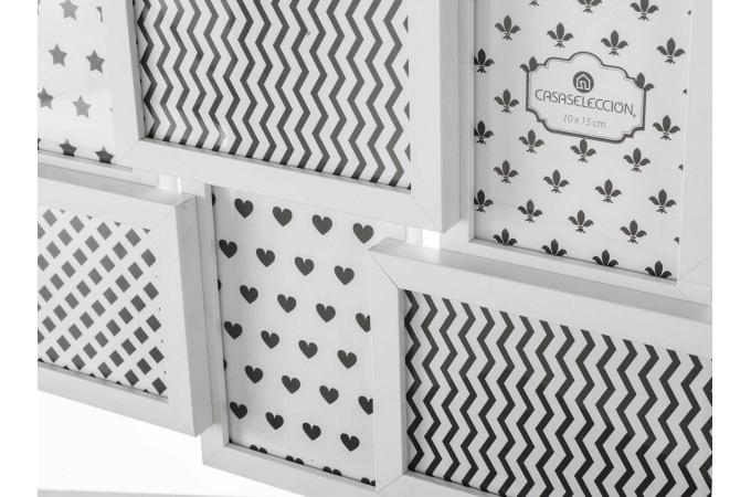 ensemble de 8 cadres photos blanc 31 50 x 3 x 58 50 cm. Black Bedroom Furniture Sets. Home Design Ideas