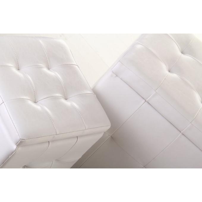 Lot de 2 pouf coffre blanc similicuir pouf design pouf g ant pas cher - Pouf cuir blanc design ...