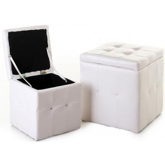 Lot de 2 Pouf Coffre Blanc Similicuir