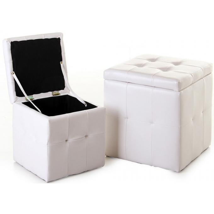 lot de 2 pouf coffre blanc similicuir pouf design pouf. Black Bedroom Furniture Sets. Home Design Ideas