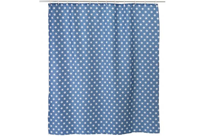 rideau salle de bain stars bleu 180 x 200 cm rideaux pas. Black Bedroom Furniture Sets. Home Design Ideas