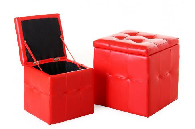 lot de 2 pouf coffre rouge similicuir pouf design pouf g ant pas cher. Black Bedroom Furniture Sets. Home Design Ideas