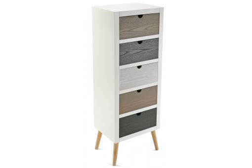 Commode blanche 5 tiroirs deco design - Commode blanche pas chere ...
