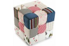 Cube patchwork Romantique - Pouf multicolore design