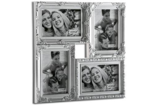 ensemble de 4 cadres photos argent 33 x 33 cm cadre photo pas cher. Black Bedroom Furniture Sets. Home Design Ideas