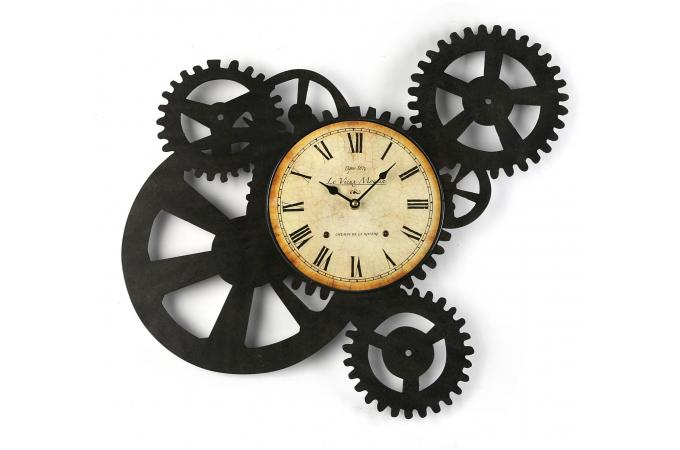 horloge murale engrenage 51 x 54 cm horloge design pas cher. Black Bedroom Furniture Sets. Home Design Ideas