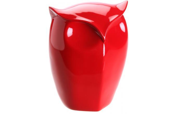 petite figurine de hibou rouge cm statue design pas cher. Black Bedroom Furniture Sets. Home Design Ideas