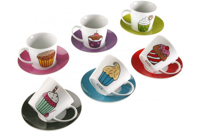 set de 6 tasses th et plateau cupcake service caf th pas cher. Black Bedroom Furniture Sets. Home Design Ideas